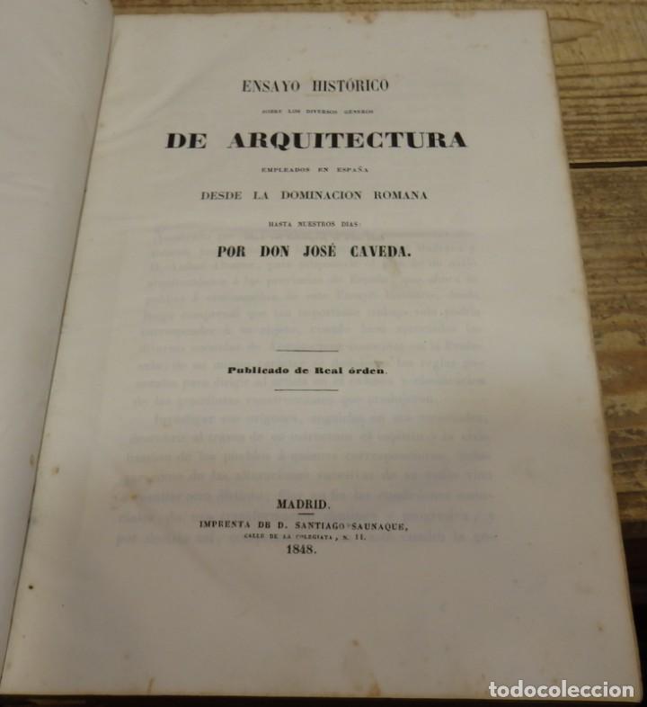 CAVEDA,JOSÉ:ENSAYO HISTORICO SOBRE LOS DIVERSOS GENEROS DE ARQUITECTURA EMPLEADOS EN ESPAÑA,DEDICADO (Libros Antiguos, Raros y Curiosos - Bellas artes, ocio y coleccion - Arquitectura)