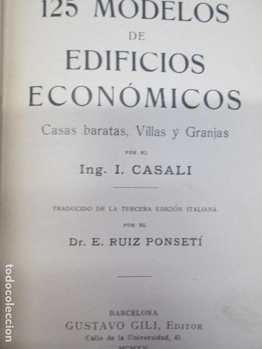 Libros antiguos: 125 MODELOS DE EDIFICIOS ECONOMICOS. I. CASALI. EDITOR GUSTAVO GILI. 1925. VER FOTOGRAFIAS ADJUNTAS - Foto 7 - 144855342