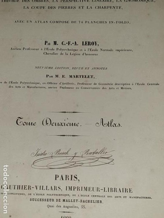 Libros antiguos: TRAITE STEREOTOMIE . LES APPLICATIONS DE LA GEOMETRIE DESCRIPTIVE -1883 -LEROY - Foto 9 - 161153662
