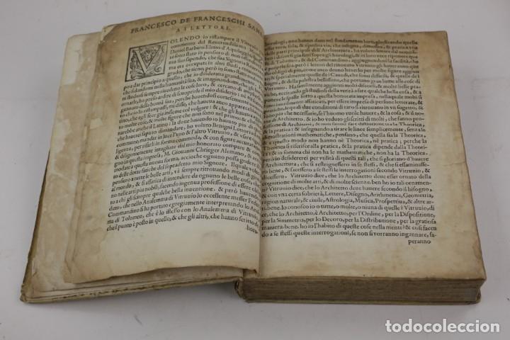 Libros antiguos: I dieci libri dellarchitettura di M. Vitruvio, 1585, restaurado, con grabados, Venetia. 25x18,5cm - Foto 3 - 161752058