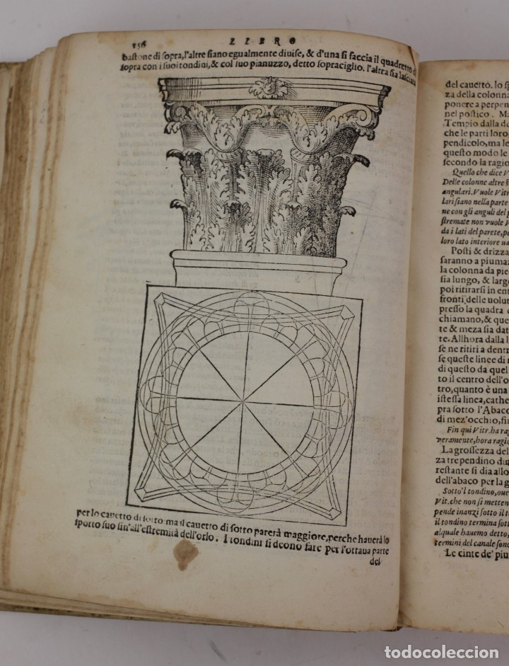 Libros antiguos: I dieci libri dellarchitettura di M. Vitruvio, 1585, restaurado, con grabados, Venetia. 25x18,5cm - Foto 5 - 161752058