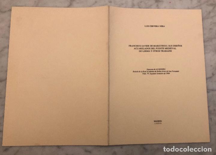 Libros antiguos: FranciscoJavierdeMaríategui.susdiseñosacuareladosdelpuentemediovalde Lerma y otros trabajos-LCV(13€) - Foto 5 - 166717522