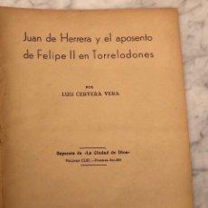 Libros antiguos: JUAN DE HERRERA Y EL APOSENTO DE FELIPE II EN TORRELODONES(13€). Lote 166717906