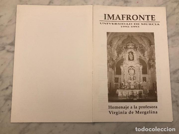 Libros antiguos: Homenaje a la profesora Virginia de Mergelina-IMAFRONTE-Murcia-LCV(13€) - Foto 2 - 166719254
