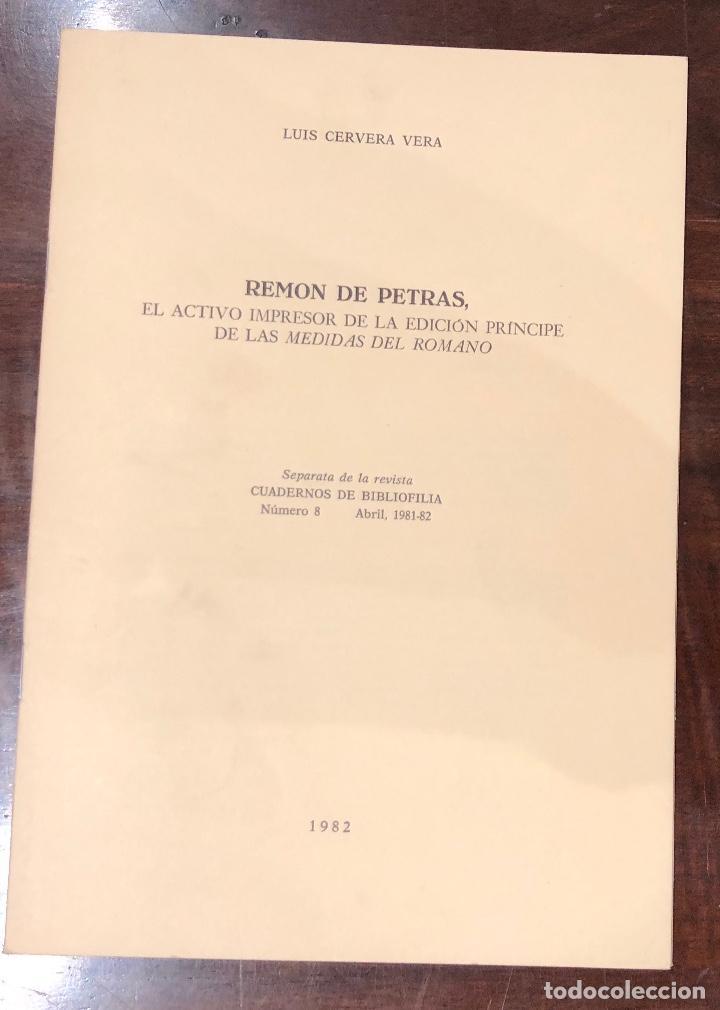 REMON DE PETRAS. EL ACTIVO IMPRESOR DE LA EDICIÓN PRÍNCIPE DE LAS MEDIDAS DEL ROMANO-LCV(13€) (Libros Antiguos, Raros y Curiosos - Bellas artes, ocio y coleccion - Arquitectura)