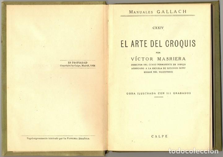 Libros antiguos: EL ARTE DEL CROQUIS - MANUALES GALLACH Nº 124 -1924 - Foto 2 - 169048844