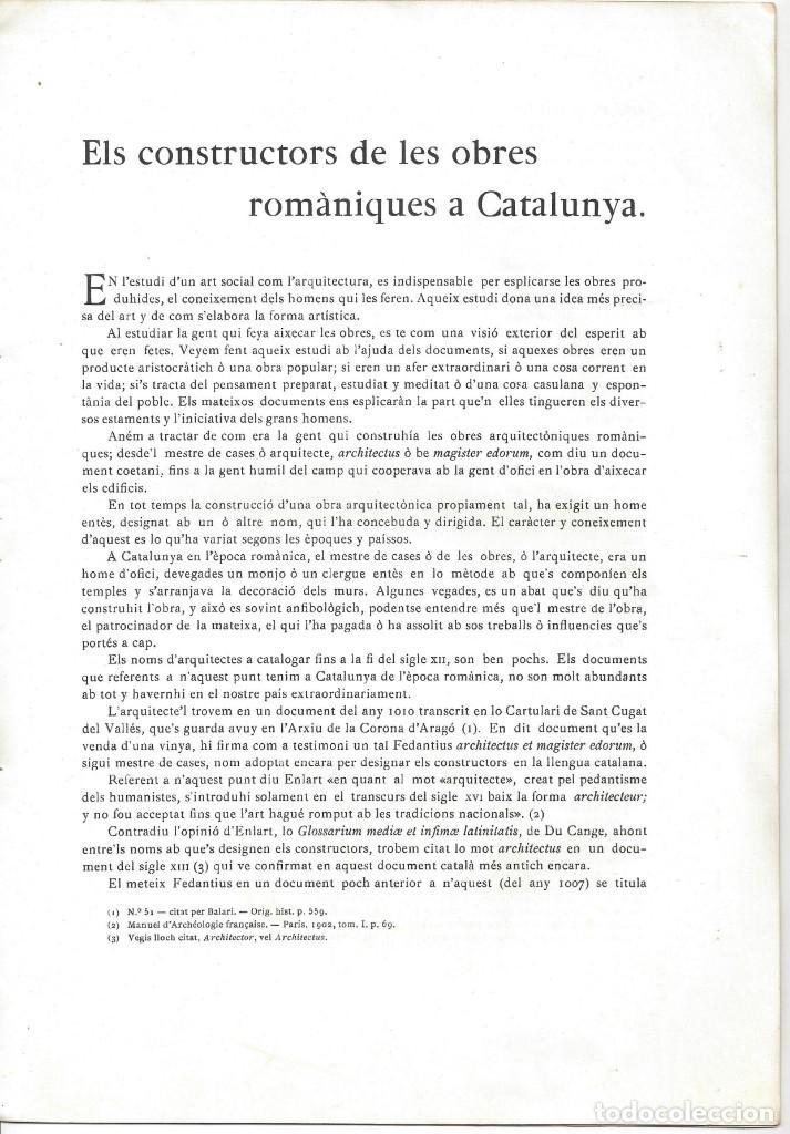 Libros antiguos: ELS CONSTRUCTORS DE LES OBRES ROMÀNIQUES A CATALUNYA. ANTONI DE FALGUERA. BARCELONA- 1907 - Foto 3 - 170004152