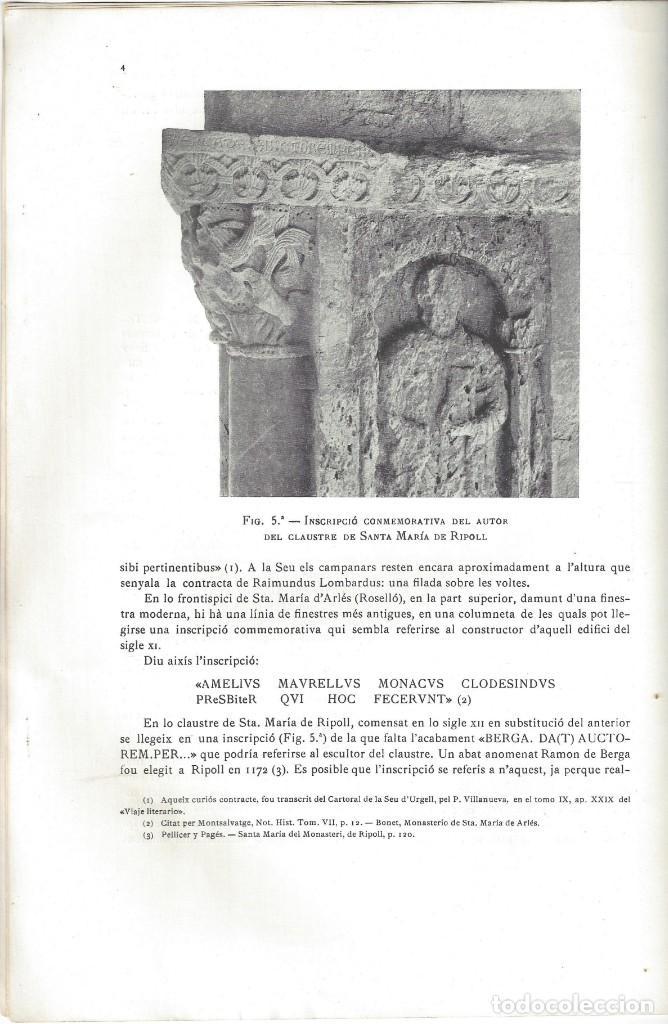 Libros antiguos: ELS CONSTRUCTORS DE LES OBRES ROMÀNIQUES A CATALUNYA. ANTONI DE FALGUERA. BARCELONA- 1907 - Foto 5 - 170004152