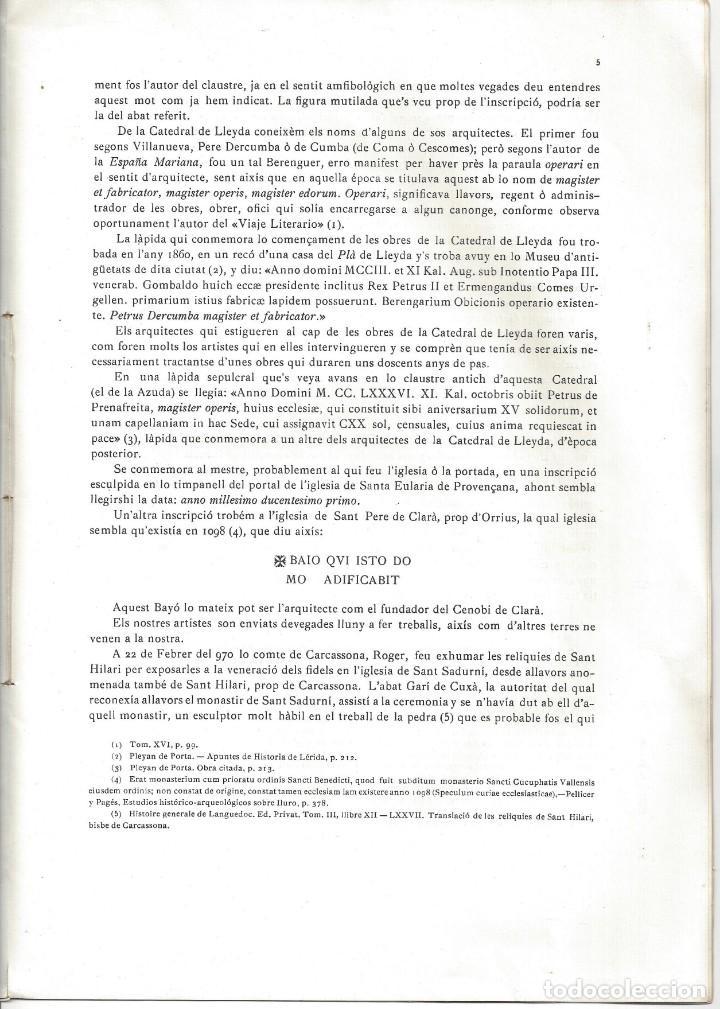 Libros antiguos: ELS CONSTRUCTORS DE LES OBRES ROMÀNIQUES A CATALUNYA. ANTONI DE FALGUERA. BARCELONA- 1907 - Foto 6 - 170004152
