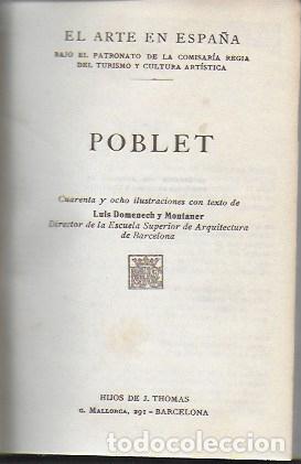 Libros antiguos: El arte en España: Poblet, Santes Creus, Catedral de Barcelona. ( 3 vols. en un tomo ). 15x10 cm. - Foto 2 - 174924160