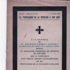 Libros antiguos: NECROLOGICA A LA MEMORIA DE D.ANTONIO GAUDÍ CORNET NÚMERO EXTRAORDINARIO SAGRADA FAMILIA 1926. Lote 175224924