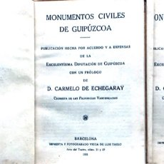 Libros antiguos: DOS LIBROS SOBRE GUIPÚZCOA ARQUITECTURA,MONUMENTOS CIVILES Y RELIGIOSOS 1921. Lote 176959203