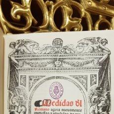 Libros antiguos: MEDIDAS DE ROMANO SAGREDO, D. V. GARCIA. 2004. FACSIMIL. Lote 181206391