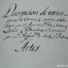 Libros antiguos: (M3.6) LIBRO MANUSCRITO S.XIX - MATIAS SAVINA - DESCRIPCION DE VARIAS FORMAS DE CASETONES ARQUITECTO. Lote 181492122
