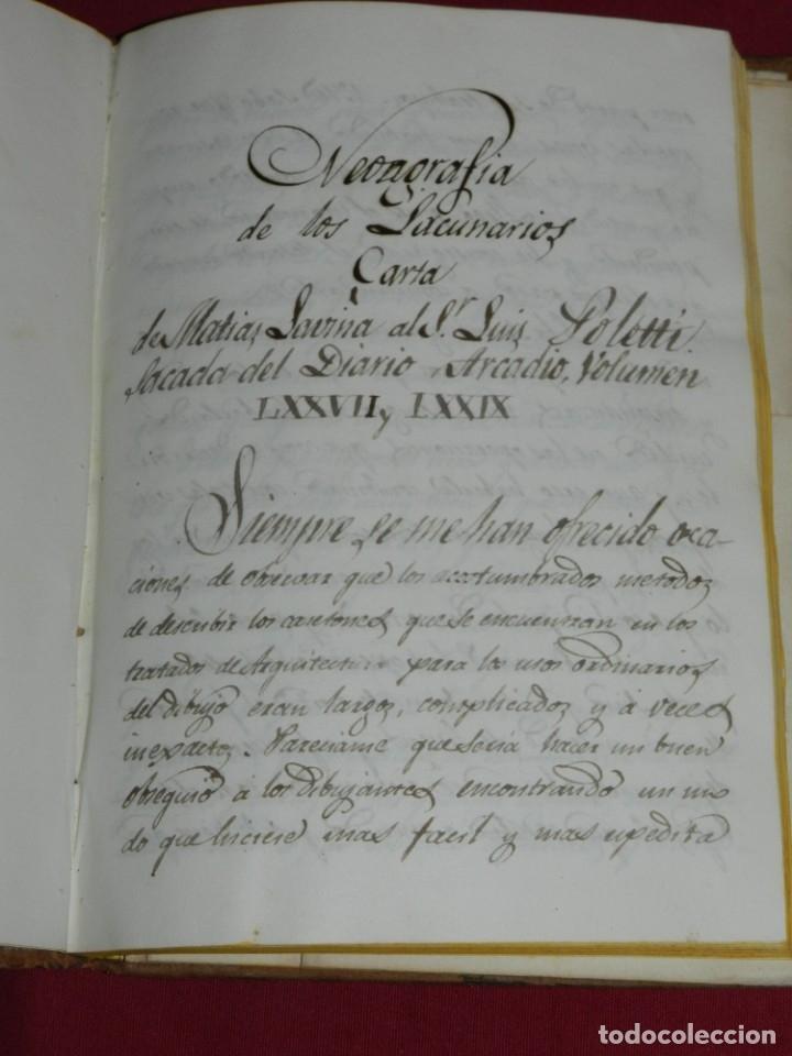 Libros antiguos: (M3.6) LIBRO MANUSCRITO S.XIX - MATIAS SAVINA - DESCRIPCION DE VARIAS FORMAS DE CASETONES ARQUITECTO - Foto 2 - 181492122