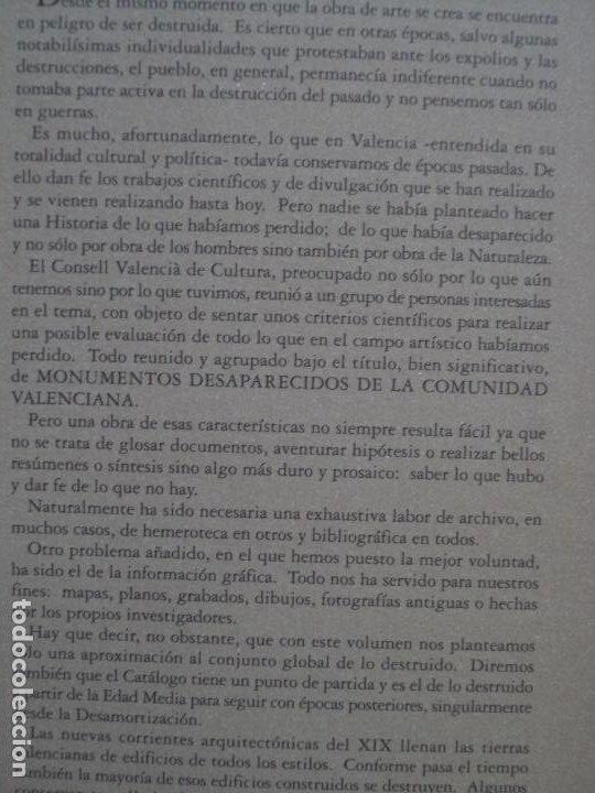 Libros antiguos: MONUMENTOS DESAPARECIDOS DE LA .COMUNIDAD VALENCIANAPERFECTO ESTADO NUEVO SIN USO - Foto 2 - 183792272