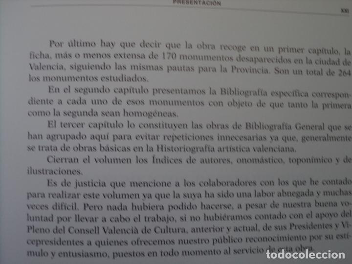 Libros antiguos: MONUMENTOS DESAPARECIDOS DE LA .COMUNIDAD VALENCIANAPERFECTO ESTADO NUEVO SIN USO - Foto 3 - 183792272