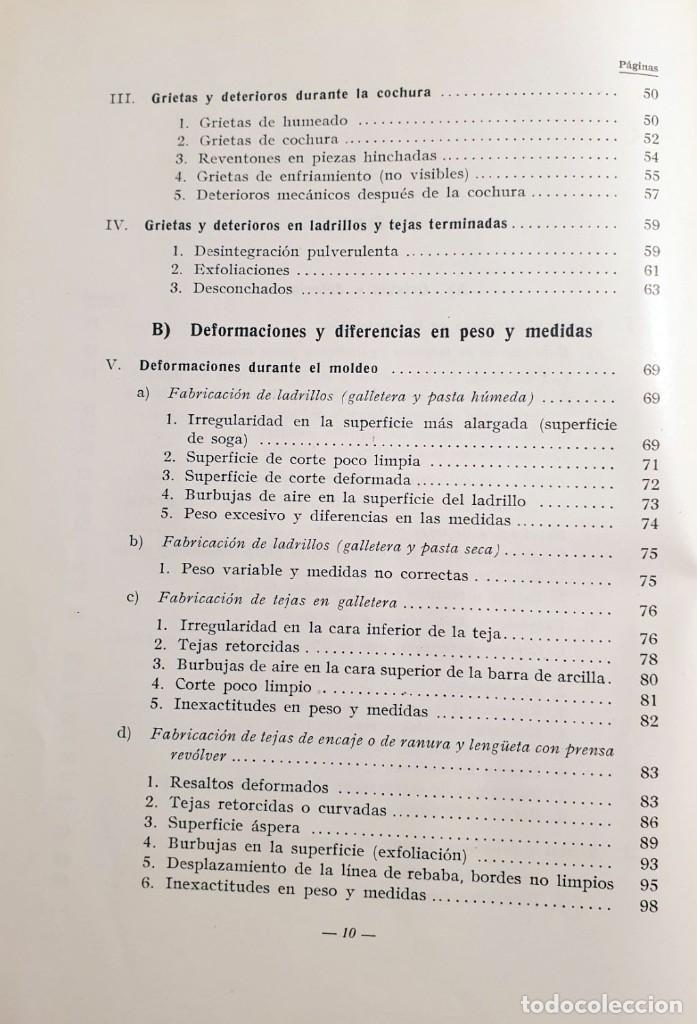 Libros antiguos: Defectos en la fabricación de ladrillos y tejas. Spingler, Karl. Edl: Reverté, Barcelona 1954, 1 edi - Foto 5 - 92166335