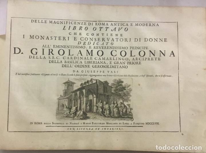 Libros antiguos: DELLE MAGNIFICENZE DI ROMA ANTICA E MODERNA. vedute di Roma. 1756-1761. + DE 100 GRABADOS - Foto 7 - 191725821