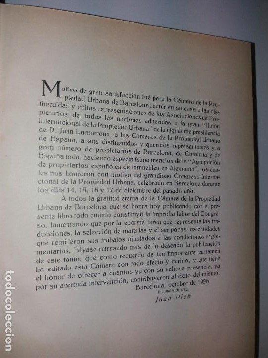 Libros antiguos: DECORATIVO CONGRESO INTERNACIONAL de la PROPIEDAD URBANA Barcelona 1925 - Foto 3 - 191874172