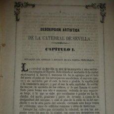 Libros antiguos: DESCRIPCION ARTISTICA DE LA CATEDRAL DE SEVILLA JUAN A. CEAN BERMUDES 1863 SEVILLA A RESTAURAR. Lote 198376025