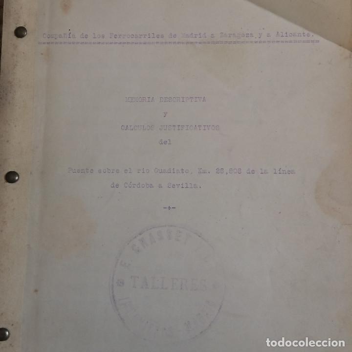 Libros antiguos: LINEA CORDOBA SEVILLA (PUENTE SOBRE RIO GUADIATO 1917) PROYECTO ORIGINAL COMPLETO - Foto 17 - 199102475
