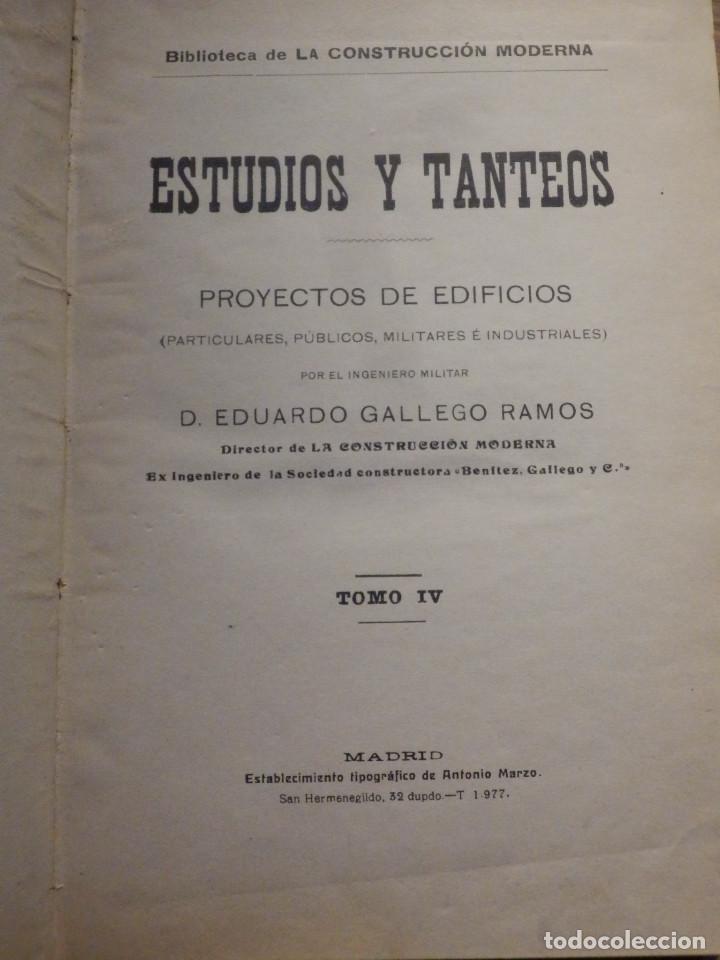Libros antiguos: Estudios y Tanteos - Proyectos EDIFICIOS. PARTICULARES, PUBLICOS - Tomo IV - Eduardo Gallego Ramos - Foto 2 - 210968387