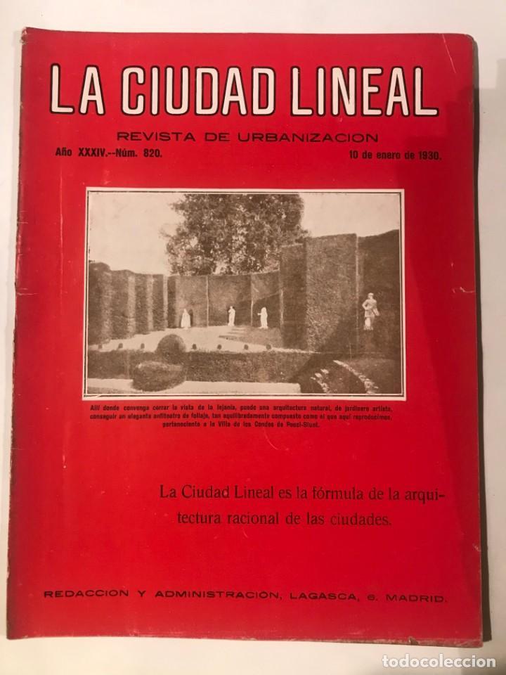 LA CIUDAD LINEAL 10 DE ENERO 1930 . NUM 820 REVISTA DE URBANIZACION RAFAEL MARQUINA,RIVAS MOREN0 (Libros Antiguos, Raros y Curiosos - Bellas artes, ocio y coleccion - Arquitectura)