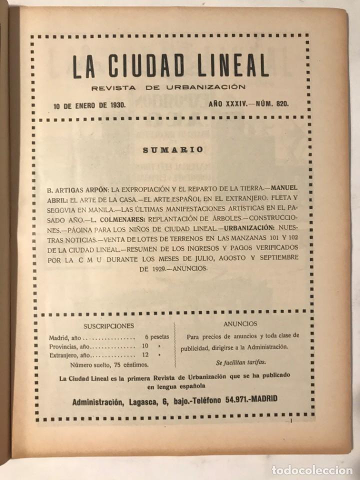 Libros antiguos: LA CIUDAD LINEAL 10 DE ENERO 1930 . NUM 820 REVISTA DE URBANIZACION RAFAEL MARQUINA,RIVAS MOREN0 - Foto 2 - 214190076