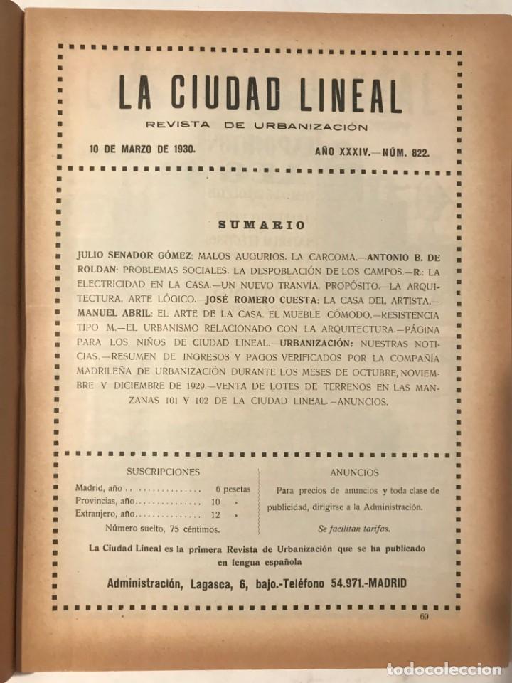 Libros antiguos: LA CIUDAD LINEAL 10 DE MARZO 1930 . NUM 822 REVISTA DE URBANIZACION RAFAEL MARQUINA,RIVAS MOREN0 - Foto 2 - 214190371