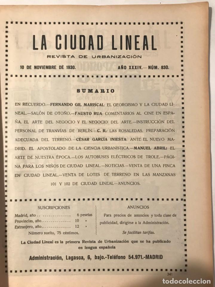 Libros antiguos: LA CIUDAD LINEAL 10 DE DICIEMBRE 1930 . NUM 831 REVISTA DE URBANIZACION RAFAEL MARQUINA,RIVAS MOREN0 - Foto 2 - 214191383