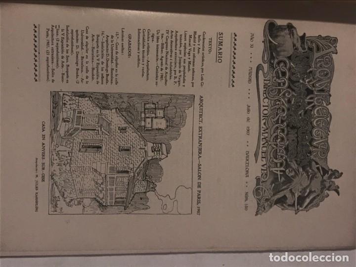 Libros antiguos: ARQUITECTURA Y CONSTRUCCION NUM 180 JULIO 1907 D. Manuel Vega y March. MODERNISMO - Foto 2 - 215733405