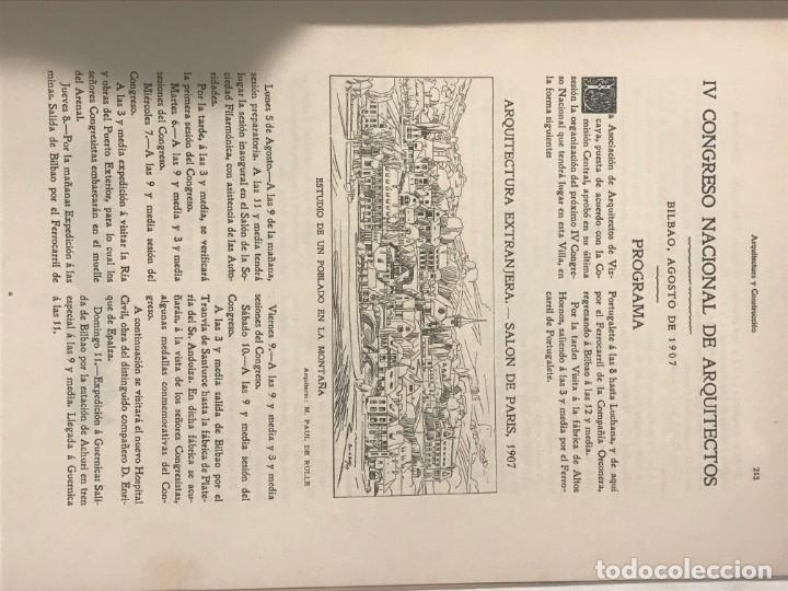 Libros antiguos: ARQUITECTURA Y CONSTRUCCION NUM 180 JULIO 1907 D. Manuel Vega y March. MODERNISMO - Foto 4 - 215733405