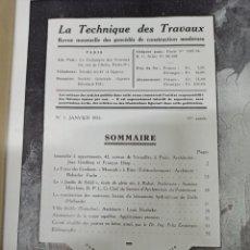 Libros antiguos: REVISTA FRANCESA DE ARQUITECTURA Y CONSTRUCCION AÑO 1935 COMPLETO: LA TECHNIQUE DES TRAVAUX. Lote 218392983