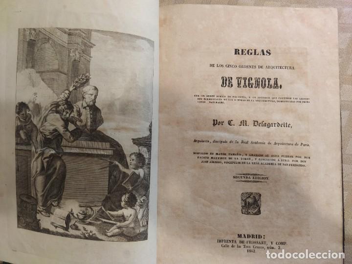 Libros antiguos: Reglas de los Cinco Ordenes de Arquitectura de Vignola - Foto 2 - 218991041