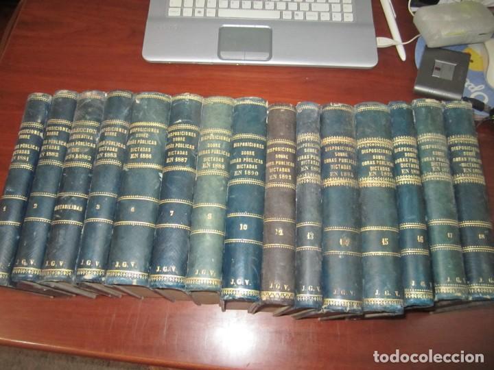 15 TOMOS DISPOSICIONES SOBRE OBRAS PUBLICAS DESDE 1881 AL1898 ARNAU--URBINA MADRID (Libros Antiguos, Raros y Curiosos - Bellas artes, ocio y coleccion - Arquitectura)