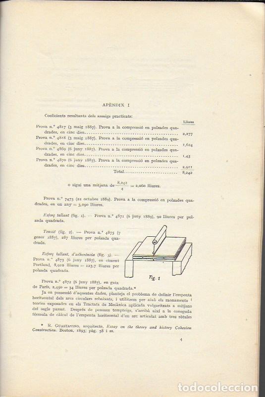 Libros antiguos: Estudi historic i metodes de càlcul de les voltes de maó de Pla / Josep Goday. BCN, 1934. 27x18cm. - Foto 4 - 142065794
