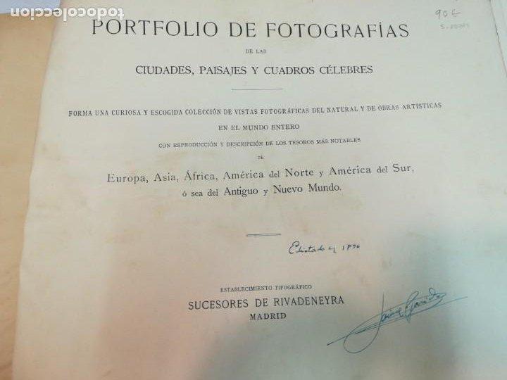 Libros antiguos: Portfolio de fotografias de las ciudades, paisajes y cuadros célebre... S1822T - Foto 2 - 227607215