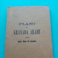 Libros antiguos: PLANO DE GRANADA ARABE, LUIS SECO DE LUCENA, 1910 CON PLANO. Lote 234358585