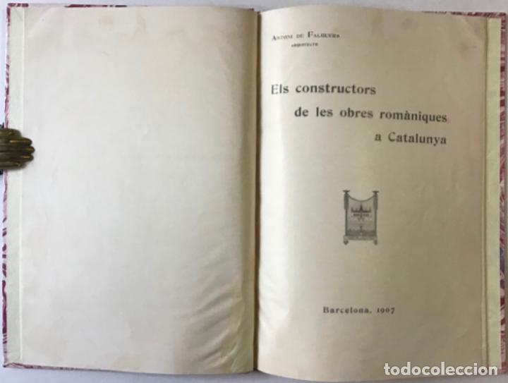 ELS CONSTRUCTORS DE LES OBRES ROMÀNIQUES A CATALUNYA. - FALGUERA, ANTONI DE. (Libros Antiguos, Raros y Curiosos - Bellas artes, ocio y coleccion - Arquitectura)
