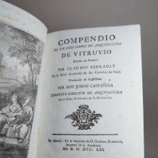 Libros antiguos: COMPENDIO DE LOS DIEZ LIBROS DE ARQUITECTURA DE VITRUVIO. 1761-ORIGINAL- ARQUITECTO-CONSTRUCCION. Lote 251886125