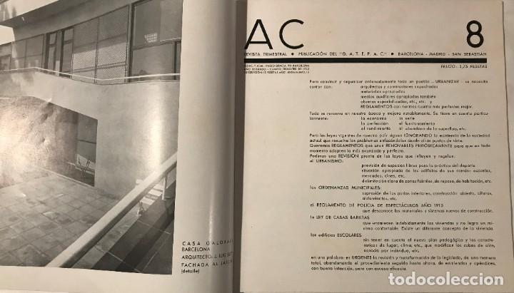 Libros antiguos: AC 8 - 1932 PUBLICACIÓN DEL GATEPAC - DOCUMENTOS DE ACTIVIDAD CONTEMPORÁNEA - Foto 2 - 260405845