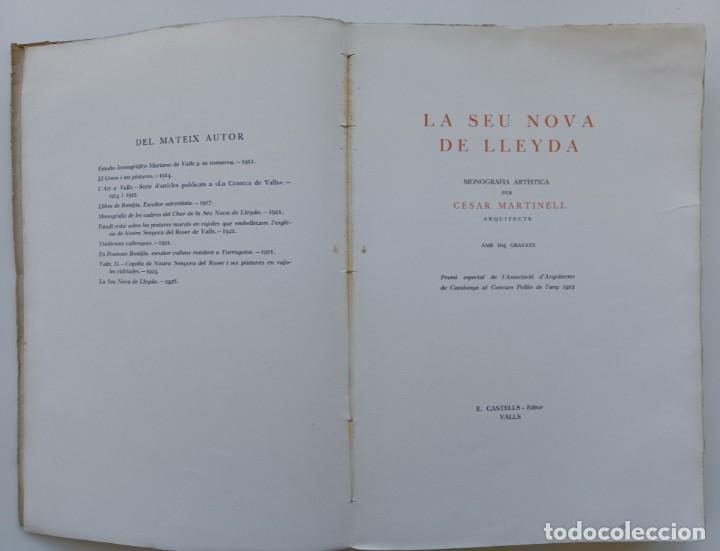Libros antiguos: La Seu nova de Lleyda (Premi Concurs Pollés 1923). César Martinell i Brunet (Autor) - Foto 3 - 267880159