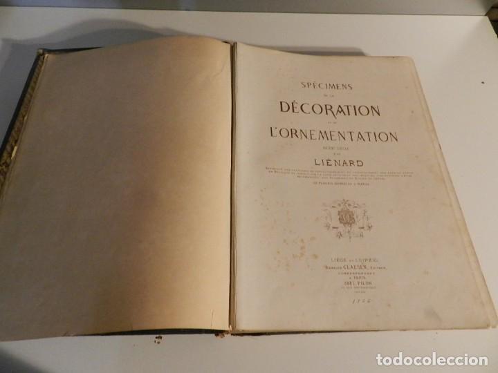 Libros antiguos: LIENARD .SPÉCIMENS DE LA DÉCORATION ET DE LORNEMENTATION AU 19ÈME SIÈCLE 1866 PRIMERA ED LÁMINAS - Foto 4 - 275038038