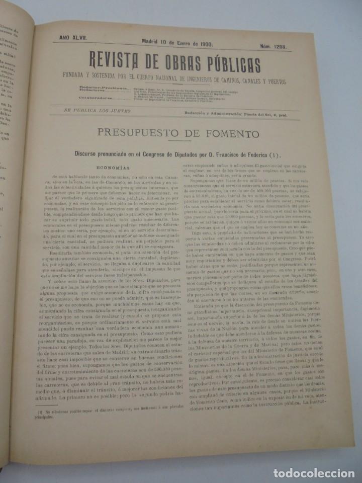 Libros antiguos: REVISTA DE OBRAS PUBLICAS. AÑO XLVII SERIE 7ª. AÑO COMPLETO. 1900. TOMO I Y II. VER FOTOS - Foto 7 - 275222398
