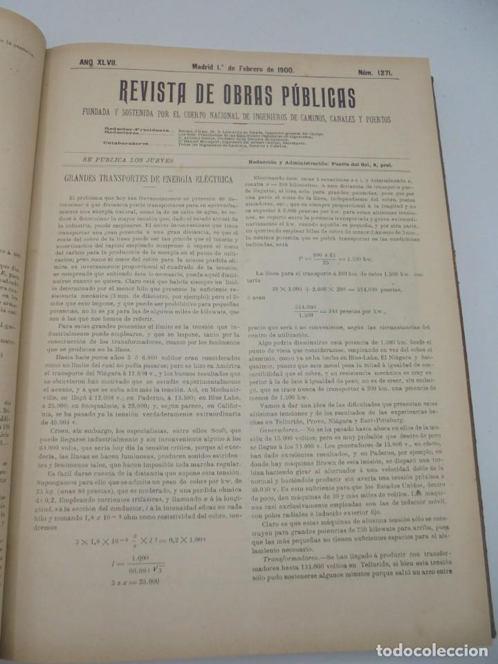 Libros antiguos: REVISTA DE OBRAS PUBLICAS. AÑO XLVII SERIE 7ª. AÑO COMPLETO. 1900. TOMO I Y II. VER FOTOS - Foto 12 - 275222398