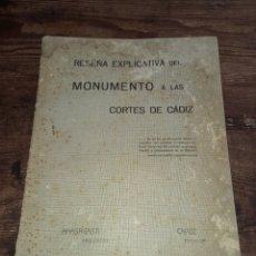 Libros antiguos: RESEÑA EXPLICATIVA DEL MONUMENTO A LAS CORTES DE CÁDIZ *ANASAGASTI / CAPÚZ* ARQUITECTO ESCULTOR. Lote 275494423