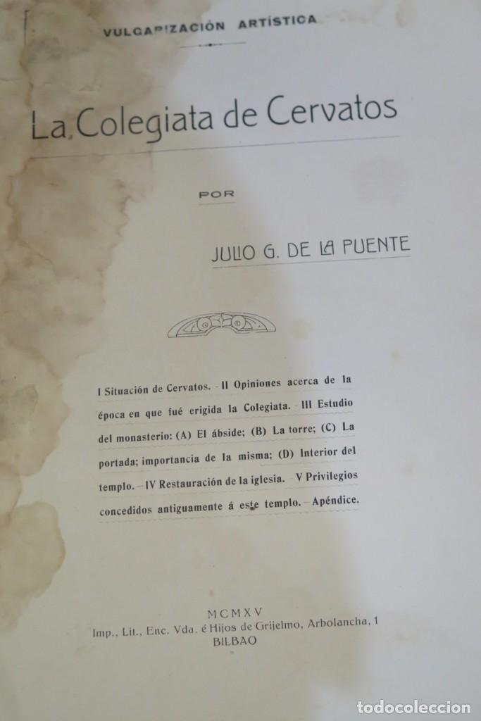 Libros antiguos: 1915.- LA COLEGIATA DE CERVATOS. DE LA PUENTE - Foto 3 - 276000258