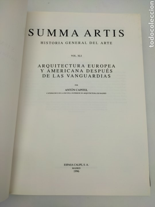 Libros antiguos: Suma artis arquitectura europea y america después de las vanguardias - Foto 2 - 276218078