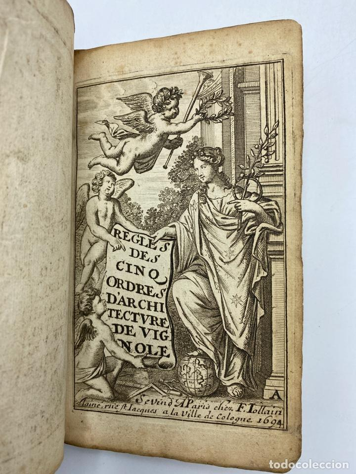 Libros antiguos: REGLE DES CINQ ORDRES DARCHITECTURE DE VIGNOLE. PARIS, 1694. EN FRANCÉS - Foto 3 - 279357743